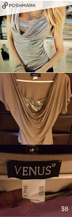 Venus Sequence Blouse Large fitted sequels blouse color: tan/light brown.  Never worn VENUS Tops Blouses
