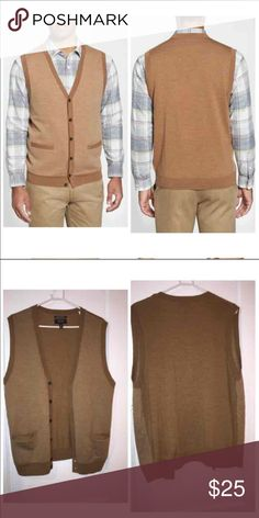 Nordstrom Merino Wool Cardigan Vest Tan colored New without tags 100% extra fine merino wool from Nordstrom mens shop OA Nordstrom Jackets & Coats Vests