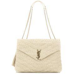 Saint Laurent Monogram Medium Raffia Shoulder Bag ($1,730) ❤ liked on Polyvore featuring bags, handbags, shoulder bags, beige, monogrammed purses, monogrammed handbags, beige handbags, shoulder bag purse and white handbags