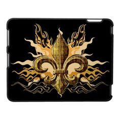 """""""Fleur Graphic 01 ipad case: Gold Fleur De Lis with flames graphic. Cool, trendy graphic tees and products. Awesome Design with gold fleur de lis symbol. Great for New Orleans Saints fans. Check out all our cool screen tee designs, we also have many Tattoo inspired designs."""""""