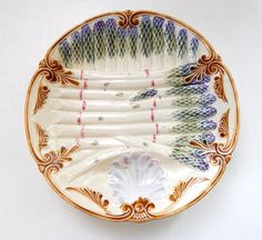 French Antique Asparagus Plate in Majolica