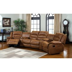 This perfect sectional for the living room or home theater features an extreme plush comfort that offers convenient storage and relaxing recliners in warm inviting caramel upholstery. The cup holders allow a clutter-free experience.