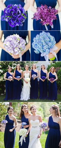 Wedding - Blue bridesmaids and each bridesmaid has a different shade of purple flowers  Idk what shade of blue you are looking for but I was just gonna pin the different ones lol