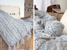 Amalie loves Denmark Strickdecke mit Zopfmuster #knitting
