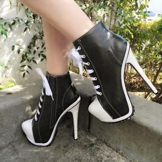 84803e4d955f Shapely Lace-up High Heels Ankle Boots