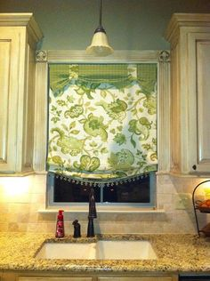 window treatments...like the roman shade and beading with coordinate fabric...drapes on a dime