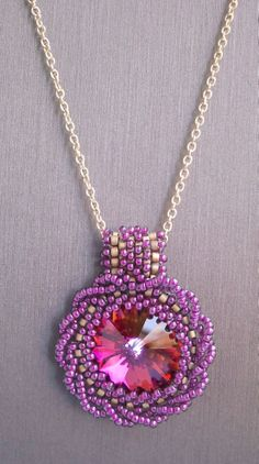"""Volcano"" Swarovski Crystal Beadwork Pendant with Gold Filled Chain Necklace"