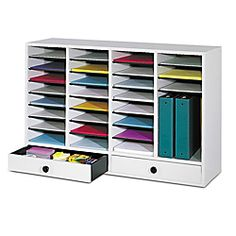 """$199.99 Office Depot Safco® Adjustable Wood Literature Organizer, 25 3/8""""H x 39 3/8""""W x 11 3/4""""D, 32 Compartments, 2 Drawers, Gray"""