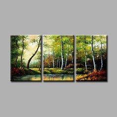 Pintada a mano Paisaje / Paisajes AbstractosModern Tres Paneles Lienzos Pintura al óleo pintada a colgar For Decoración hogareña 4644415 2017 – $222.374