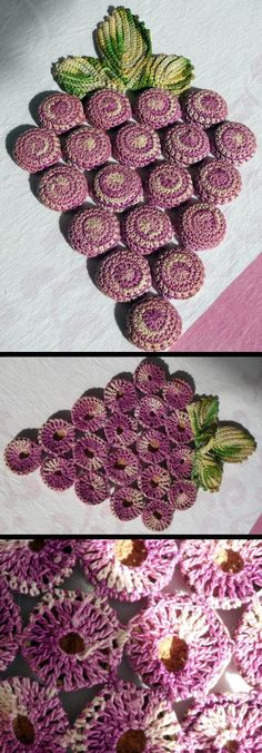 grape cluster bottle cap and crochet trivet from etsy or make it using this http://www.bestfreecrochet.com/2010/11/11/bottle-cap-magic-rolling-river-trivet/ technique.