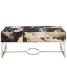 Stainless Steel & Leather Hide Bench