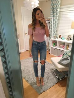 c967aa052c2 Off the shoulder bodysuits and high waisted jeans