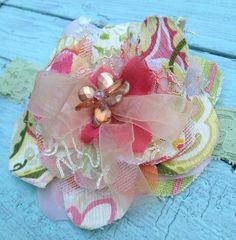 Orange, Green, Yellow, Fabric Flower Headband, Girls Headband, Flower Hair Clip, Baby, Toddler Girls, Orange Headband, Yellow Headband on Etsy, $16.00