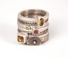 Rings - W Walsh Designs  |  Stack rings, mix and match. Shown here, citrine, tourmaline and peridot, with sterling silver.