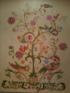 bordado de Castelo Branco Jacobean Embroidery, Tambour Embroidery, Embroidery Patterns, Portuguese, Projects To Try, Quilts, Rugs, Flowers, Oil Paintings