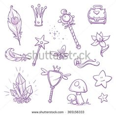 Set of fairy princess belongings, objects, icons, with magic wand, crystal, mirror, feathers, mushroom, chest, butterfly, star. Hand drawn vector cartoon doodle illustration