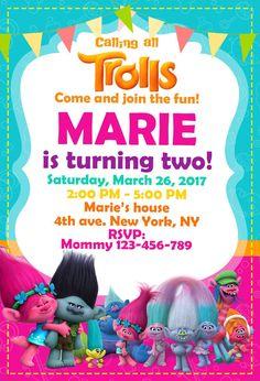 Trol de invitación cumpleaños Trolls partido por kinderwickstudio