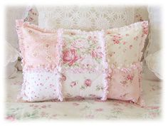 Considerate shabby chic bedding rag quilt call to action phrases Shabby Chic Quilts, Shabby Chic Pillows, Shabby Chic Homes, Shabby Chic Decor, Chic Bedding, Ruffle Pillow, Quilted Pillow, Flower Pillow, Quilting Projects