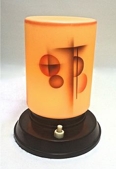 """Art Deco Lamp, Airbrushed Glass Bakelite Czechoslovakia c. 1930 H 6.25"""" D 4.8"""" Excellent condition, Rewired"""