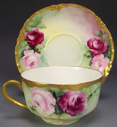 """Exceptionally Beautiful FRENCH ROSES TEA CUP & SAUCER"""" ~ Set  FOUR OF SIX ~ Elegant Antique Haviland France Limoges French Hand Painted Vintage Victorian Fine Floral Art China Painting Artwork Old European Porcelain 19th Century Circa 1893"""