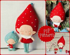 PDF. Gnome family. Murshroom elves. Plush Doll Pattern por Noialand