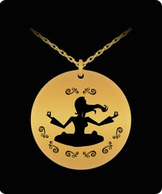 Yoga Girl hippy, hipster, retro 1 inch diameter Gold toned etched 18k Gold Plated 20 inch chain yoga pendant necklace with chain It's laser engraved on very high quality metals so that it has an incredible shine that you will love every time that you look at it. Waterproof, Laser Engraved with 2 inch chain extender for perfect fit.