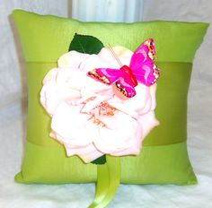 Wedding Ring Pillow Shabby Chic, Pink and Green #shabbychic, #butterfly,#boys @ www.etsy.com/shop/3Mimis