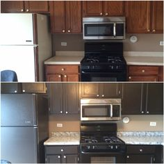Amazing countertops after using Giani Granite White Diamond kit with some black onyx and chocolate brown and Sherwin Williams latex enamel in Black Bean on cabinets.