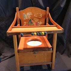 Vintage Antique Children's Potty Chair Chamber Pot Flip Tray w/ Beads | eBay