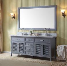Ariel Kensington (double) 73 Inch Grey Transitional Bathroom Vanity Set  [Model 2