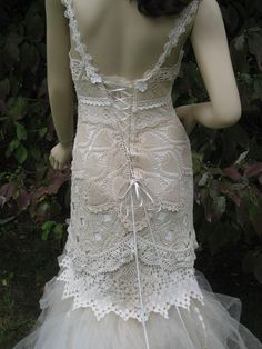 beautiful crochet wedding dress