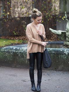 leather pants + cashmere // ida365.fi