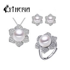 CYTHERIA 100% natural Pearl set, jewelry sets 925 silver pearl pendant necklace ring and earrings for women girls,2016 new