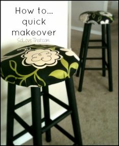 fabric and spray paint bar stool makeover Bar Furniture For Sale, Furniture Makeover, Diy Furniture, Diy Bar Stools, Diy Stool, Bar Stool Makeover, Painted Stools, Rocking Chair Cushions, Rustic Chair