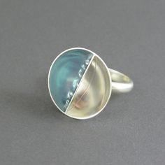 Zilveren cocktail ring, aqua blauwe hars ring, grote statement ring, 19 mm, sterling zilver, unieke ring, schotel ring