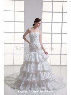 Taffeta Strapless A-Line Chapel Train Flowers Wedding Dress