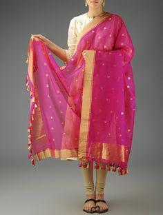 Fuschia Chanderi Meena Booti Dupatta #handwoven #textiles #india