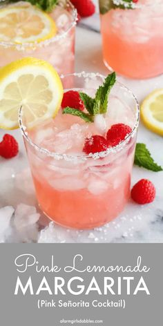 The Pink Lemonade Margarita (or Pink Senorita Cocktail) is a pretty-in-pink, softer twist on the traditional margarita, with lemons instead of limes. It's summertime perfection! Easy Drink Recipes, Punch Recipes, Cocktail Recipes, Lemon Cocktails, Cocktail Menu, Pink Lemonade Margarita, Lemonade Cocktail, Margarita Cocktail, Margarita Party