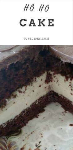 ho ho cake   Chocolate cake is layered with a cream cheese and whipped cream filling, frosted with chocolate frosting, just like a Ho Ho!  #Recipes #baking #Recipes_that_Crock  #recipes #Best_Savory_Recipes  #Vegan_Recipes  #Gluten_Free_Recipes