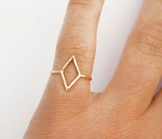 Gold Diamond Shape Knuckle Ring by SteFanie Sheehan Designs available at Withal now. Thin Gold Rings, Gold Diamond Rings, Hippie Style, Jewelry Accessories, Fashion Accessories, Jewelry Shop, Jewelry Case, Jewelry Ideas, Bijoux Design