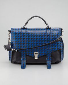 Proenza Schouler PS1 Triangle-Print Medium Satchel Bag, Blue/Black ~ Neiman Marcus $2995