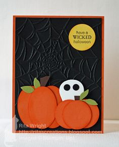 Stamps:  Wicked Cool Ink:  Tangerine Tango, Basic Black Paper:  Tangerine Tango, Basic Black, Old Olive, Daffodil Delight, Whisper White Tools/Accessories:  Big Shot, Little Leaves sizzlit, Spider Web embossing folder, oval punch, circle punches, Owl builder punch