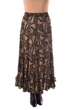 Ann N Eve #Boho Style Women Western Paisley Skirt Cotton - Gold / Chamois One Size - BO207 Another one of our new beautiful cotton paisley Western Skirts in a B...