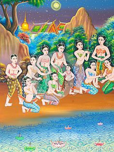 Art thai painting on wall in temple.