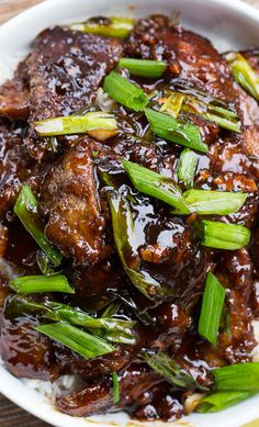 Mongolian Beef (PF Chang's copycat). So easy to make and tastes even better than the real thing!