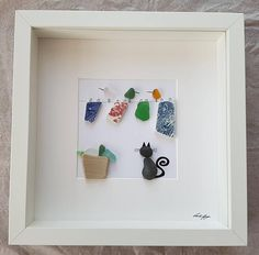 Pebble Art Cat and birds sea glass art Wedding gift
