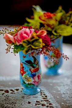 Very colourful, cute bird vintage vases.  Why not paint vases or jars, and decoupage?