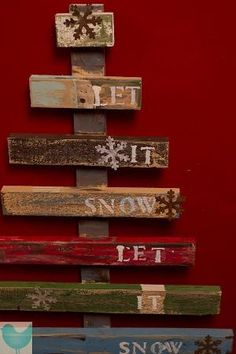 Let It Snow Rustic Christmas tree Pallet Art - Would be pretty on the fence by the deck with lights at christmas by madge