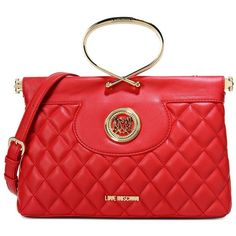 Love Moschino Handbag ($240) ❤ liked on Polyvore featuring bags, handbags, red, quilted handbags, quilted hand bags, handbags bags, love moschino and red bag