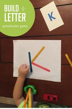 Take a break from worksheets with this fun hands-on build a letter game for preschoolers. Take a break from worksheets with this fun hands-on build a letter game for preschoolers. Preschool Letters, Preschool At Home, Preschool Lessons, Learning Letters, Toddler Preschool, Toddler Activities, Learning Activities, Preschool Activities, Teaching Resources